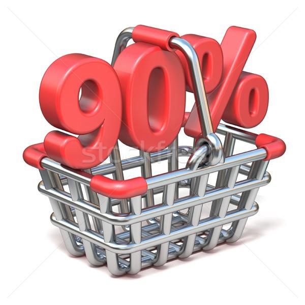 Fém bevásárlókosár százalék felirat 3D 3d render Stock fotó © djmilic