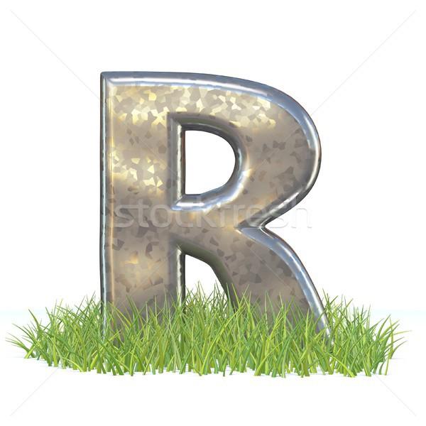 гальванизированный металл шрифт буква r трава 3D Сток-фото © djmilic