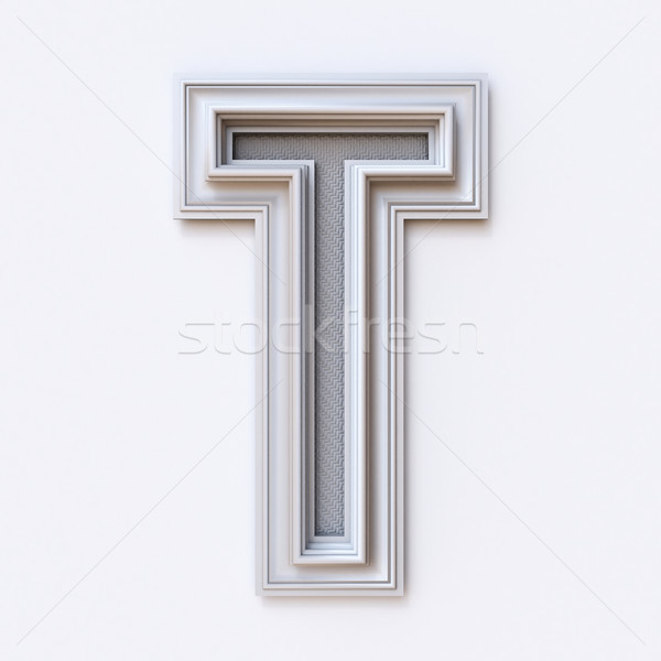 White picture frame font Letter T 3D Stock photo © djmilic