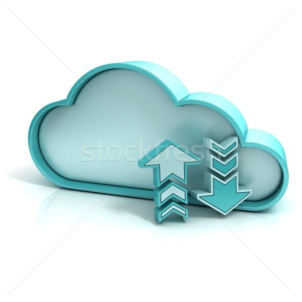 Felhő feltöltés letöltés 3D számítógép ikon izolált Stock fotó © djmilic
