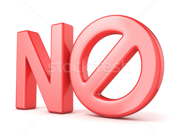 Forbidden sign concept. Word NO with prohibited symbol. 3D Stock photo © djmilic