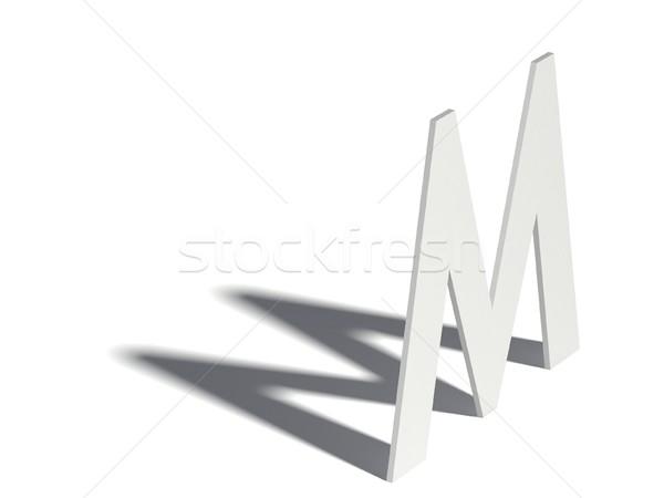 Drop shadow font. Letter M. 3D Stock photo © djmilic