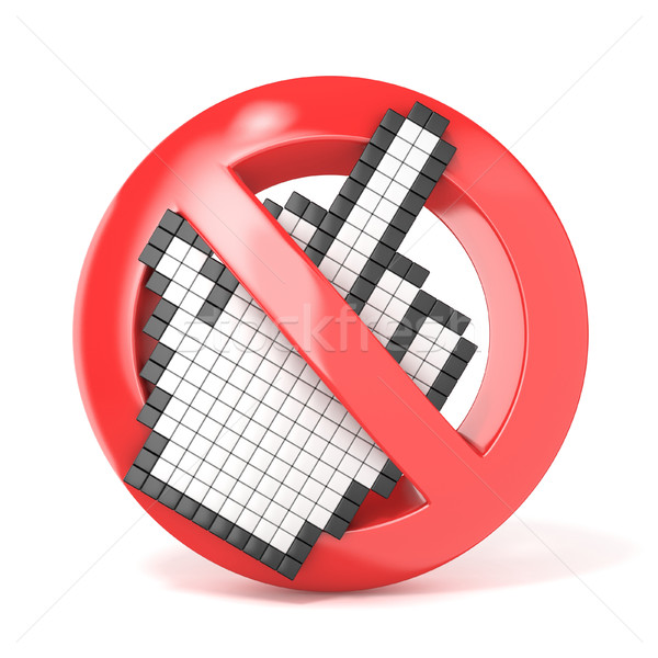 Forbidden sign with middle finger cursor. 3D Stock photo © djmilic