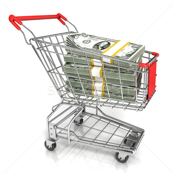 Money, dollar cash banknote, in trolley shopping cart. 3D Stock photo © djmilic