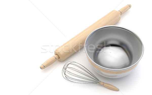 Wire whisk, wooden rolling pin and chrome bowl. 3D Stock photo © djmilic
