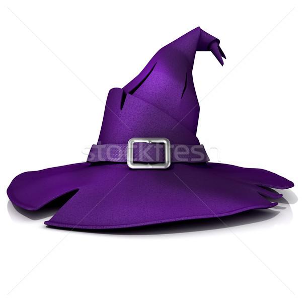 Halloween kapelusz czarownicy fioletowy hat pasa odizolowany Zdjęcia stock © djmilic