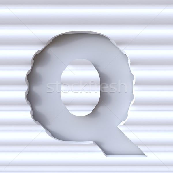 Cut out font in wave surface LETTER Q 3D Stock photo © djmilic