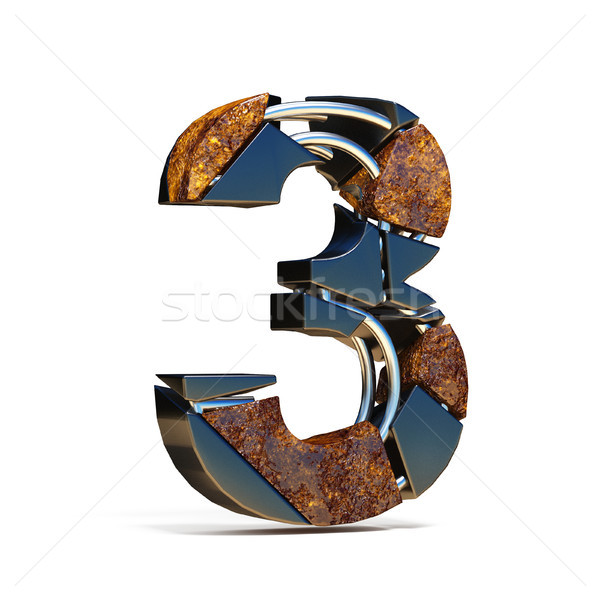 Black brown fracture font number 3 THREE 3D Stock photo © djmilic