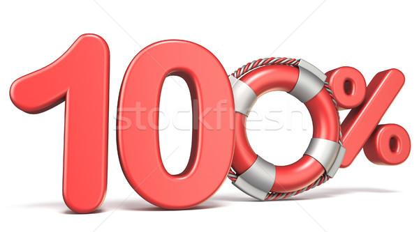 Life buoy 100 percent sign 3D Stock photo © djmilic