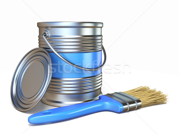 Blue color metal paint can and brush 3D Stock photo © djmilic