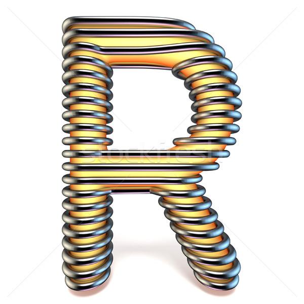 Pomarańczowy żółty litera r metal klatki 3D Zdjęcia stock © djmilic