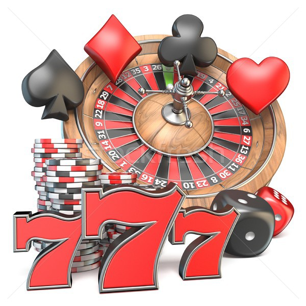 Roulette, dice, 777, playing card signs and gambling chips 3D Stock photo © djmilic