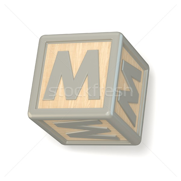 Letter M wooden alphabet blocks font rotated. 3D Stock photo © djmilic