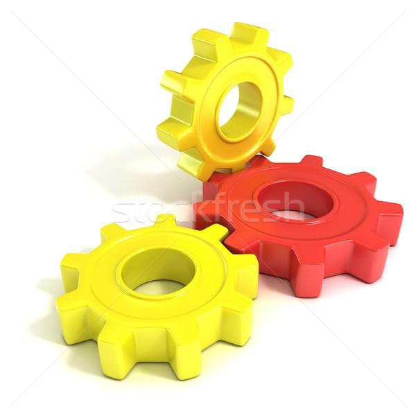 Three gear wheels, 3D Stock photo © djmilic