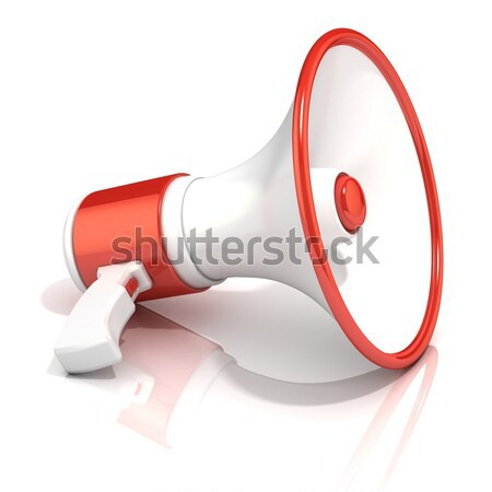 Red and white megaphone, 3D Stock photo © djmilic