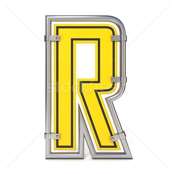 Framed traffic road sign FONT letter R 3D Stock photo © djmilic
