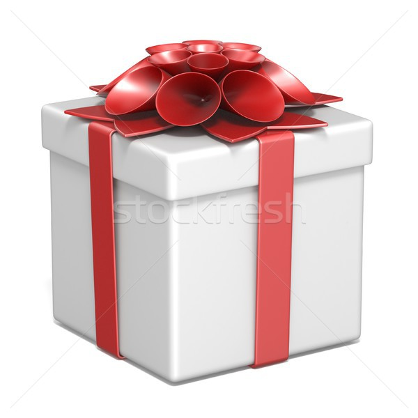 Stock photo: White gift box and red ribbon bow 3D