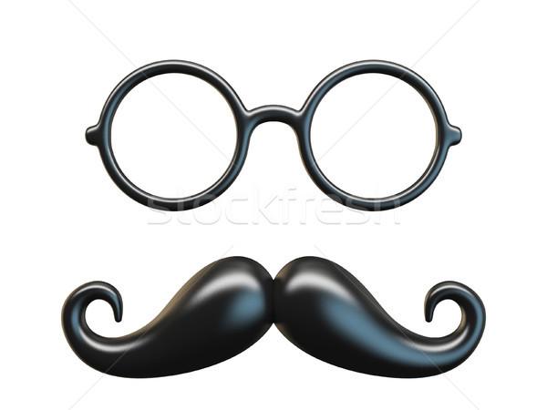 Negro bigote circular gafas 3D Foto stock © djmilic