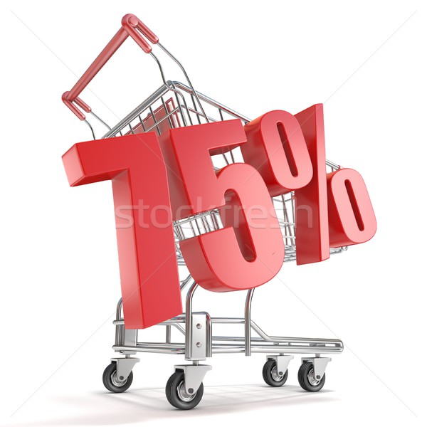 75% - seventy five percent discount in front of shopping cart. S Stock photo © djmilic