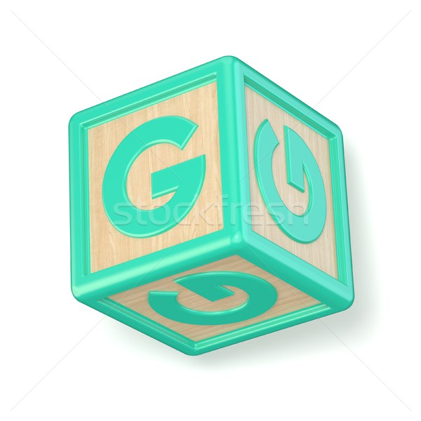 Letter G wooden alphabet blocks font rotated. 3D Stock photo © djmilic