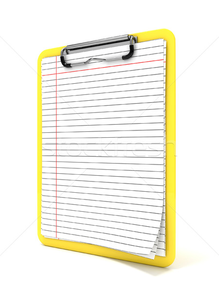 Yellow clipboard and blank lined paper. 3D Stock photo © djmilic