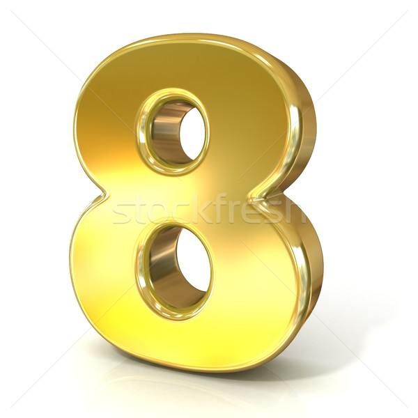 Numerical digits collection, 8 - EIGHT. 3D golden sign Stock photo © djmilic
