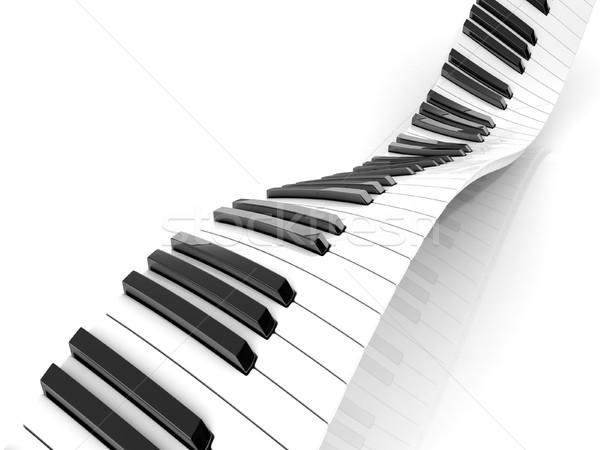 Ondulato abstract piano tastiera isolato bianco Foto d'archivio © djmilic
