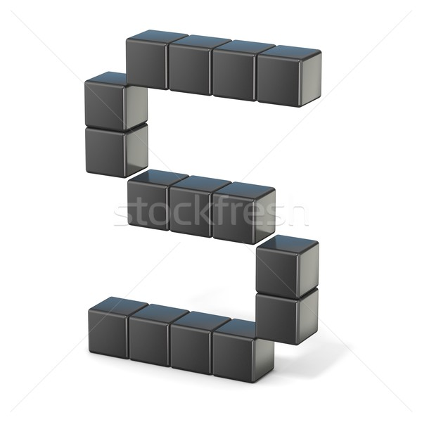 8 bit font. Capital letter S. 3D Stock photo © djmilic