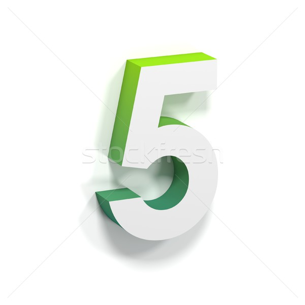 Stock photo: Green gradient and soft shadow number FIVE - 5