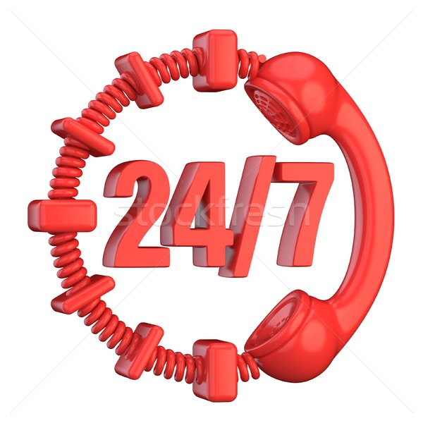 Red 24 hours a day and 7 days a week sign. 3D Stock photo © djmilic
