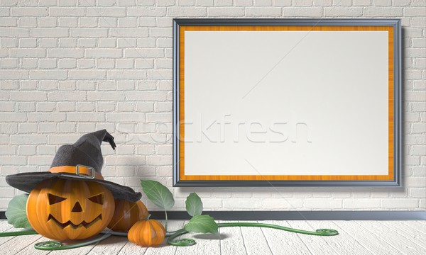 Jack O Lantern pumpkin, green leafs and mock up blank poster on  Stock photo © djmilic