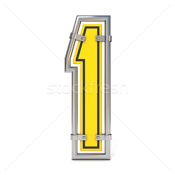 Framed traffic road sign FONT number 1 3D Stock photo © djmilic