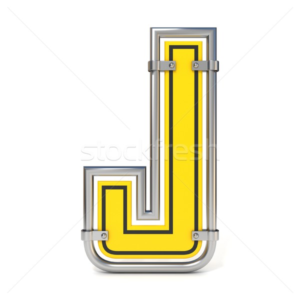 Framed traffic road sign FONT letter J 3D Stock photo © djmilic