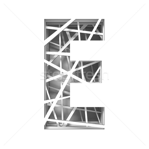 Paper cut out font letter E 3D Stock photo © djmilic