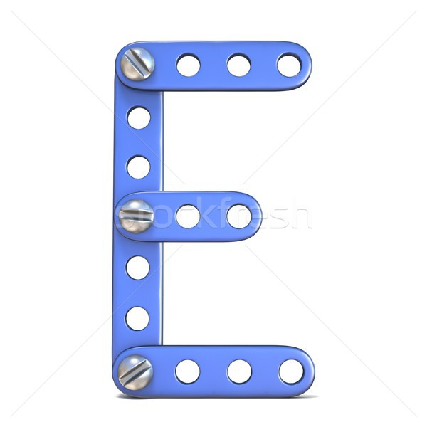 Alphabet made of blue metal constructor toy Letter E 3D Stock photo © djmilic