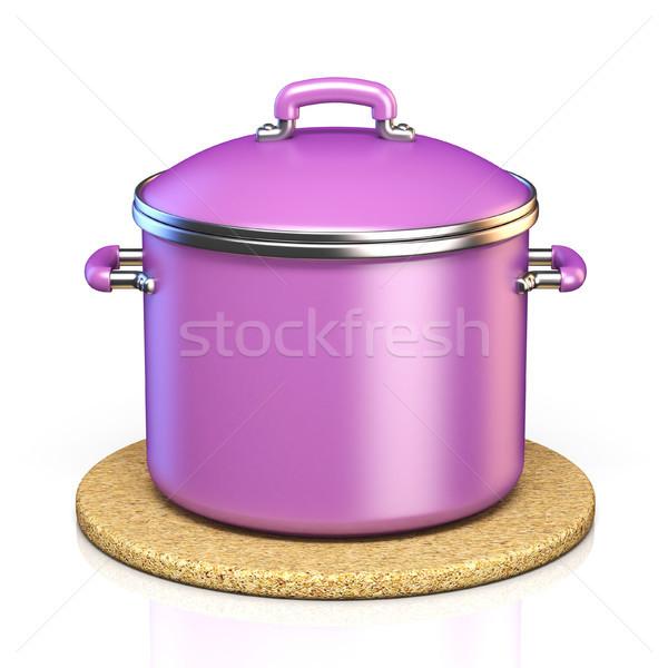 Purple cooking pot on cork pad 3D Stock photo © djmilic