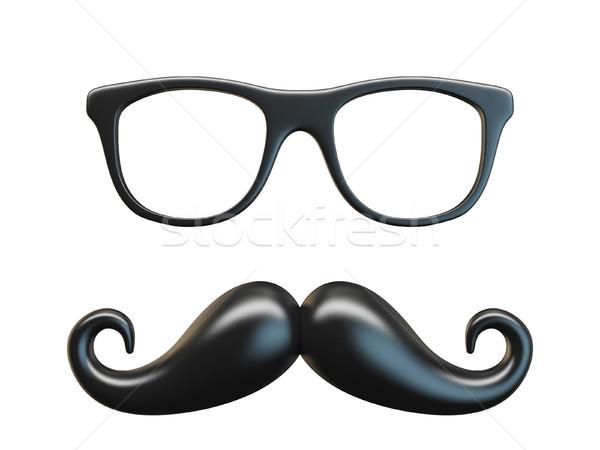 Siyah bıyık gözlük 3D örnek Stok fotoğraf © djmilic