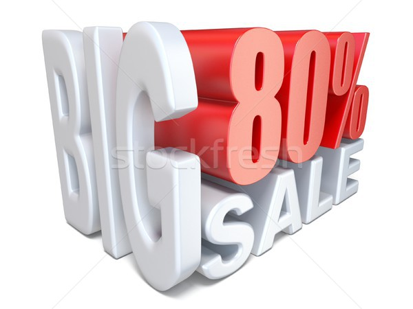 Stock photo: White red big sale sign PERCENT 80 3D