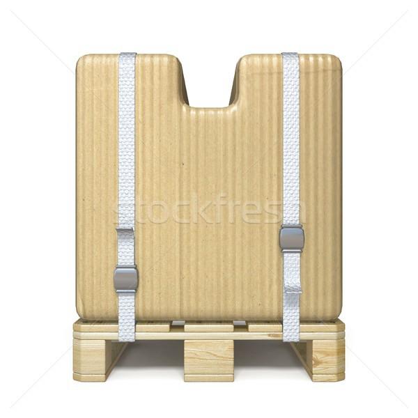 Cardboard box font Letter U on wooden pallet 3D Stock photo © djmilic