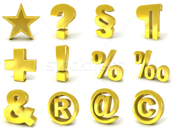 Stock photo: 3D golden signs and symbols