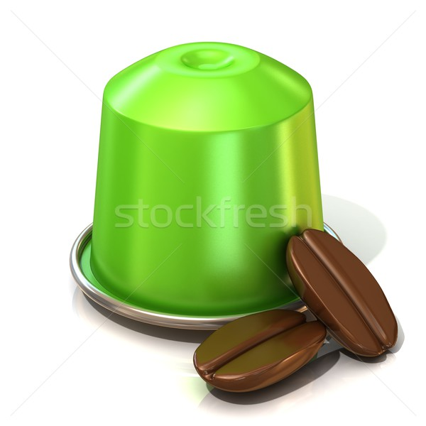 Green coffee capsule with two coffee beans. 3D Stock photo © djmilic