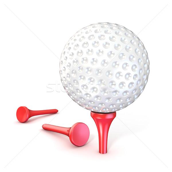 Golf topu kırmızı 3D 3d render örnek yalıtılmış Stok fotoğraf © djmilic