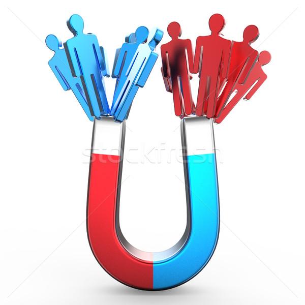 Emberek mágnes kettő különböző színes formák Stock fotó © djmilic