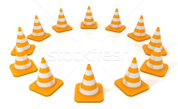 Traffic cone 3D arranged in circular form Stock photo © djmilic