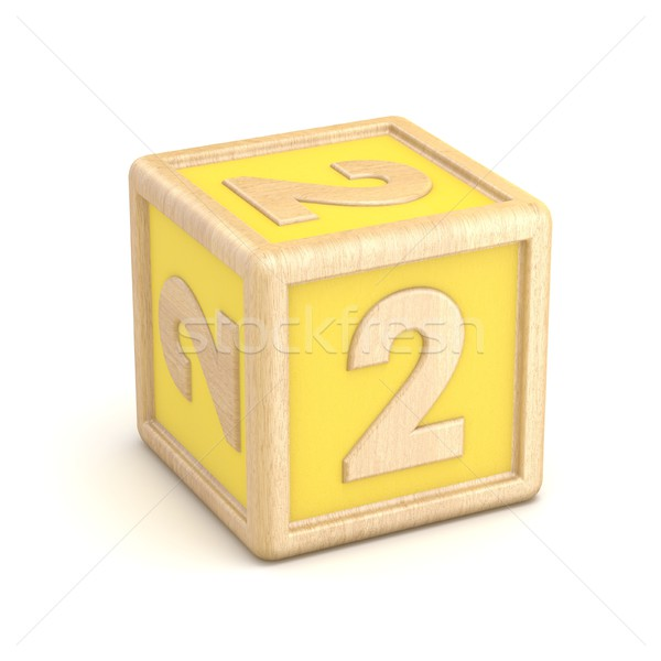 Number 2 TWO wooden alphabet blocks font rotated. 3D Stock photo © djmilic