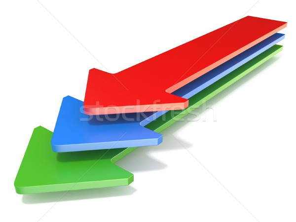 Three arrows, showing one direction toward. 3D Stock photo © djmilic
