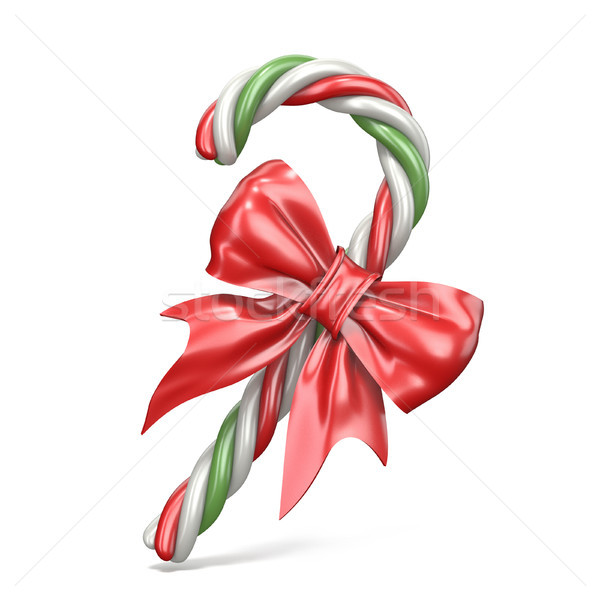 Christmas decoration made of candy cane and ribbon bow 3D Stock photo © djmilic
