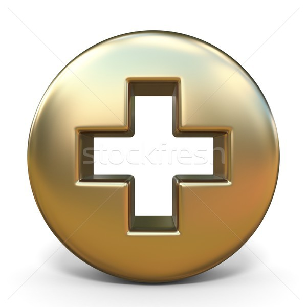 Symbol plus golden sign 3D Stock photo © djmilic