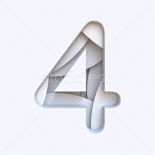 White abstract layers font Number 4 FOUR 3D Stock photo © djmilic