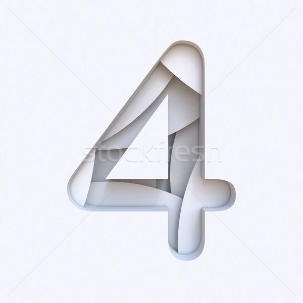 Fehér absztrakt rétegek betűtípus szám négy Stock fotó © djmilic